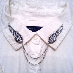 Silver Angel Wing Collar Pins Wing Sweater Clips